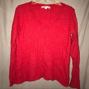 LOFT red wool blend v-neck sweater